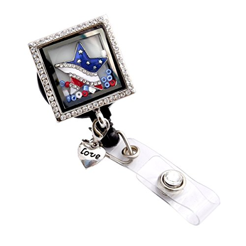 - Rhinestone Locket Charm Retractable ID Badge Holder (Star Shaped Flag Locket Badge)