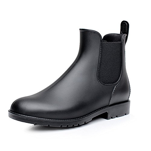 17KM Women's Black Ankle Rain Shoes Anti Slip Short Rain Boots Slip On Waterproof Chelsea Boots Black