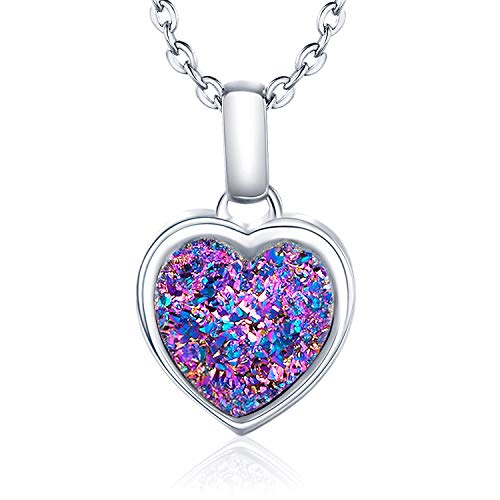 WISHMISS Sterling Silver 925 Natural Rainbow Druzy Necklace for Women (Love)