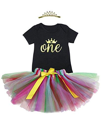 BabyPreg 3PCs Baby Girls' 1st Birthday Tutu Dress Onesie Skirt Headband Outfit (XL 12-24months, Black (One Year Old Outfit Girl)