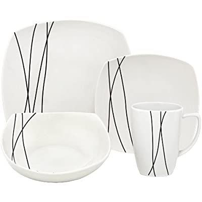 Click for Melange Black Lines Square Porcelain 16-Piece Place Setting, Service for 4