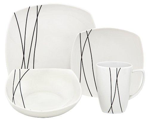 Melange Black Lines Square Porcelain 32-Piece Place Setting, Service for 8