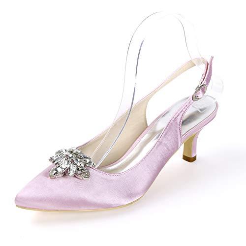 Punta L Encaje Cm Mujer Con Y Pink Novia 6 Hebilla yc Para De Cerrada Tacón Zapatos Alto xpZYq4rpn