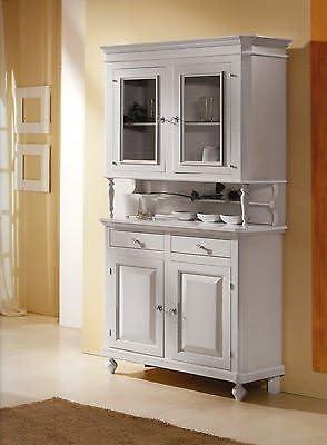 Esteamobili Credenza Napoletana Base Alzata Cristalliera Colore Bianco Laccato Amazon It Casa E Cucina