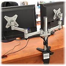 Dual elegant aluminum LCD VESA desk mounts for 13''-27'' monitors
