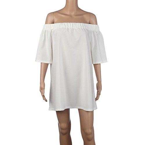 Vestido de verano, RETUROM Mujeres Pullover Camiseta fuera del hombro mini vestido Blanco