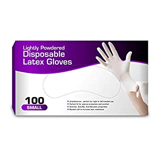 Disposable Latex Gloves, Lightly Powdered, Comfortable Fit 100 per Box (Small)