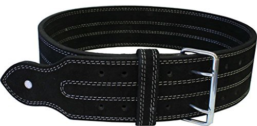 """Leather Power Weight Lifting Belt- 4"""" Black (Large)"""