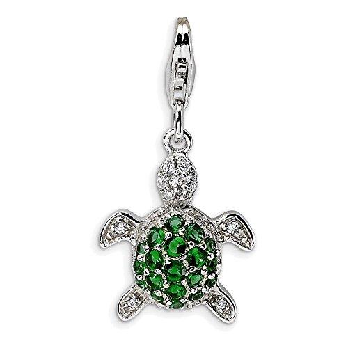 Jewelry Adviser Sterling Silver Green & Clear CZ Turtle w/Lobster Clasp Charm - Green Turtle Italian Charm