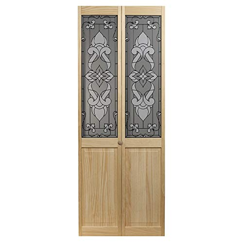 1728 Eternity Half Glass Interior Bifold Solid Wood Door, 32 Inches x 80 Inches, Unfinished Pine ()