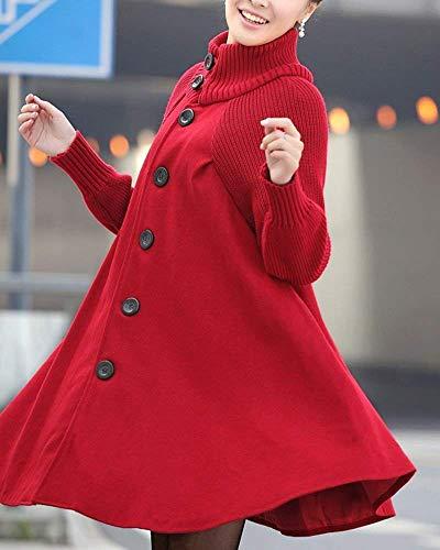 Tricotées Mode Col Vestes Thermique Vestes Haut Femmes Élégant Chaudes De Longues Lâche Vestes Single Survêtement Vintage D'hiver Jeune Breasted Casual Pourriture x8wYBqFwt