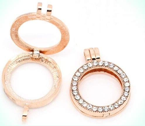 Rose Gold Tone Round Clear Rhinestones Disc Coin Medallion Open Holder Pendant