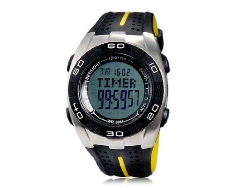 HE Shop Spovan Hoja VA dial redondo reloj deportivo multifuncional digital (Negro) M.: Amazon.es: Relojes