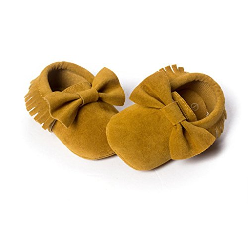 Zapatos de bebé,Tongshi Niña Bowknot zapatos de cuero zapatillas antideslizante suave niño único para 0-18 meses Amarillo