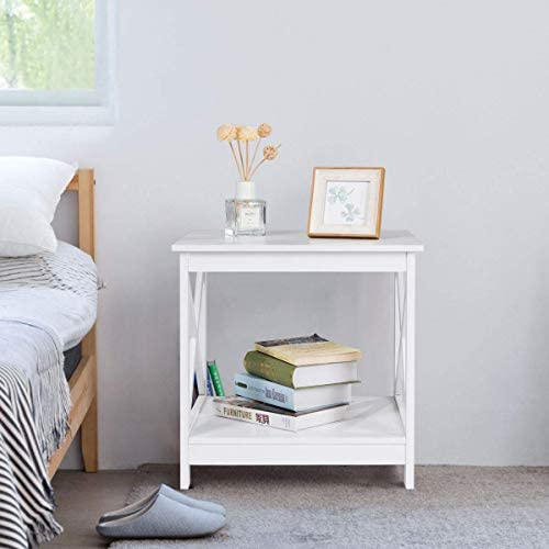Tangkula End Table Sofa Side Table, Coffee Table Overbed Table Snack Table, X-Design W 2 Display Shelves, Multi-Purpose for Living Room Accent Table Nightstand 1 x White End Table