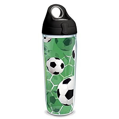 Tervis 1232570 Soccer Balls - Turf Background Tumbler with Wrap and Black with Gray Lid 24oz Water Bottle, Clear