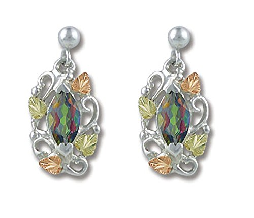 8 X 4 MM Marquise Shaped Natural Mystic Fire Black Hills Gold Earrings -