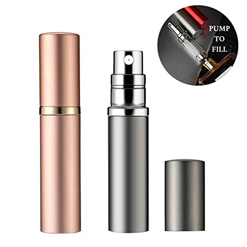 Perfume Atomizer,5ml Refillable TSA Travel Perfume Atomizer Mini Perfume Spray Bottle,Portable Pump Case for Traveling and Outgoing,2 Pack (Silver and Gold)