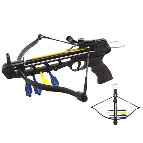 50lbs Aluminum Handheld Pistol Crossbow with Integrated Arrow Holder and 5 Arrows