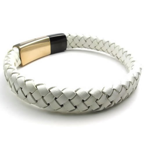 "KONOV Jewelry Leather Men's Cuff Bracelet Stainless Steel Clasp, Gold Black White - 8"" 8.5"" 9"""