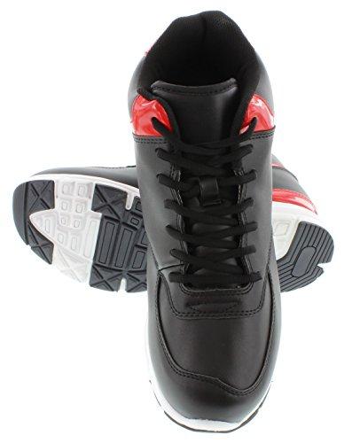 calto–g3325–9,1cm Grande Taille–Hauteur Augmenter Chaussures ascenseur (Noir et Rouge Baskets)