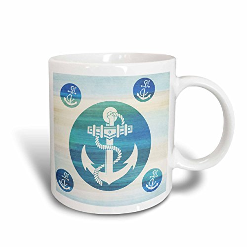 3dRose mug_152106_1 Anchor in Aqua Circles Nautical Beach Theme Art Ceramic Mug, 11-Ounce Beach Theme Coffee