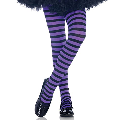 Leg Avenue's Children's Striped Tights, Black/Purple, Medium -