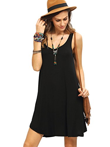ROMWE Women's Sleeveless Summer Swing Tank Sundress Black M
