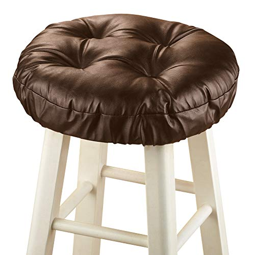 (Foam-Padded Thick Waterproof Barstool Seat Cover Cushion with Slip Resistant Backing, Dark Brown)