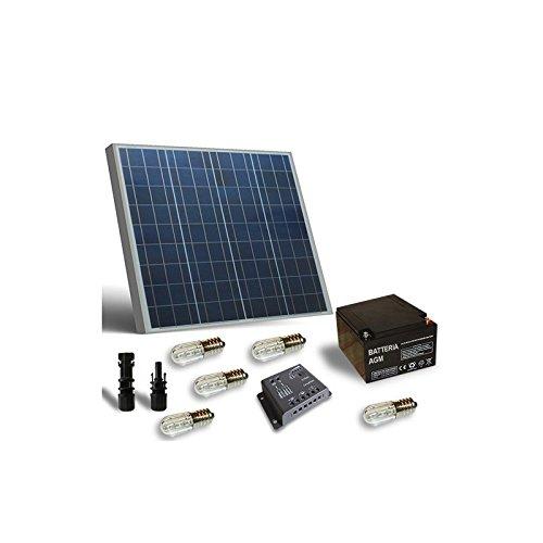 PuntoEnergia Italia Votivo Kit d' é nergie solaire, 50 W, avec panneau ré gulateur de charge pour batterie et lampe Votiva, 50 kV 50W avec panneau régulateur de charge pour batterie et lampe Votiva 50kV