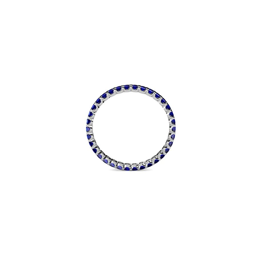 TriJewels Blue Sapphire 2mm Common Channel Set Eternity Band 1.16 to 1.32 Carat tw in 14K White Gold