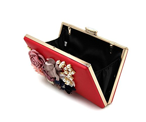 Women Purse Red Wedding Bags Clutches Handbags Evening Clutch Flower qnqOWpU4