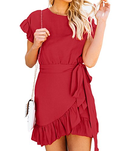 Youxiua Womens Wrap Ruffle Dresses Short Sleeve Casual Party Empire Waist Belts Mini ()