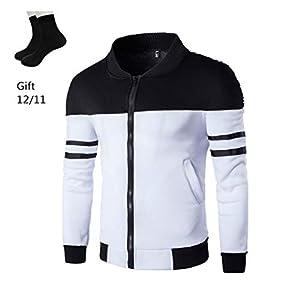 GoodLock Men's Long Sleeve Zipper Coat Fashion Autumn Winter Sportswear Patchwork Jacket