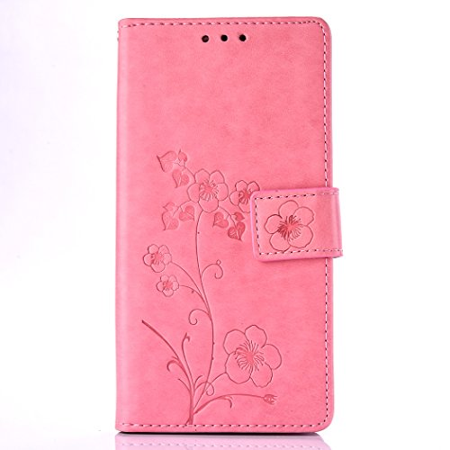 Asus ZenFone Go ZB452KG Case, Asus ZenFone Go ZB452KG TPU Leather Case Cover [Gray], Cozy Hut Elegant Butterfly Rose Patterned Embossing PU Leather Stand Function Protective Cases Covers with Card Slo Pink