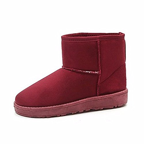 medias Borgoña Tacón nieve marrón para Rosa ZHUDJ Invierno Otoño Rubor para Botas café Comodidad Botas plano Botas para Zapatos mujer la borgoña informal 6zqBP