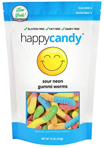 Happy Candy Sour Neon Worms - Gluten Free, Fat Free, Dairy Free - Resealable Pouch (1 -