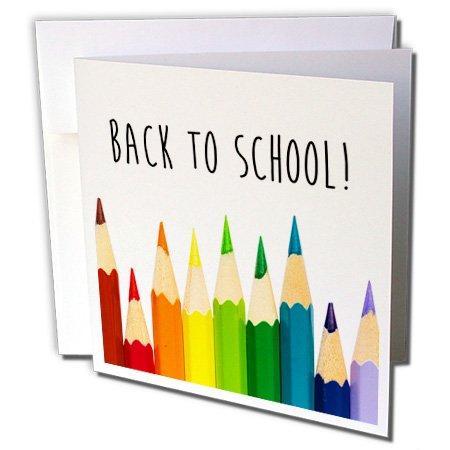 3dRose Carsten Reisinger - Illustrations - Back To School color pencils - 12 Greeting Cards with envelopes (gc_236335_2)