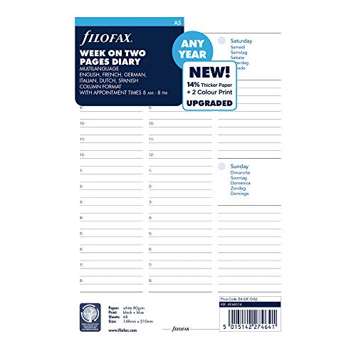 (Filofax 2019 A5, Week to View with Appointments, 5 Languages, undated, 8.25 x 5.75 inches (CAY68514-19))
