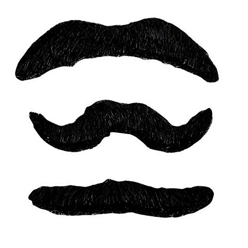 Adorox Self Adhesive Funny Fake Mustaches Set Prank Gag - Costume Halloween Party (Black (36 Mustaches))
