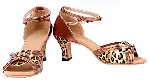 Honeystore Damen's Riemen Knoten-Leopard-Druck Tanzschuhe Gold 38 EU MAJmqT