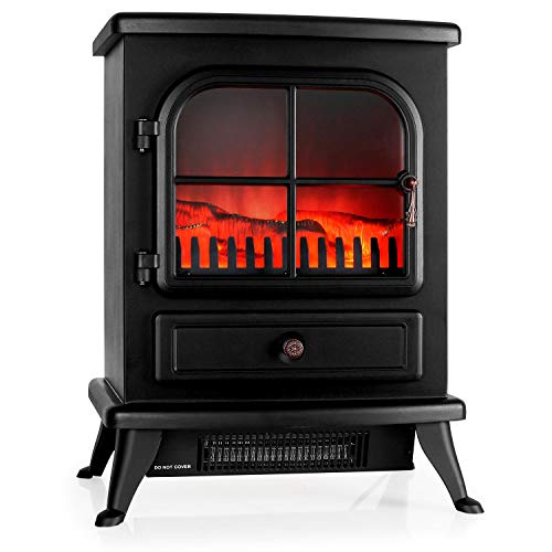 KLARSTEIN St. Moritz Electric Fireplace • Heater • 1800 W • Flame Simulation • Built-in Fan Heater • Glass Front Panel • Nostalgic Design • Adjustable Flame Brightness • ()