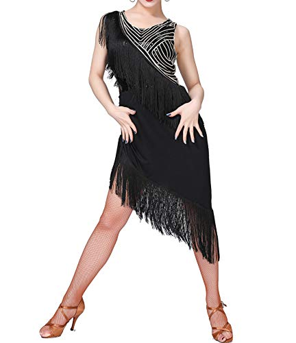 Whitewed Fringe 20'S Sequin Performance Dance Attire Dancewear Halloween Costumes Clothes Black