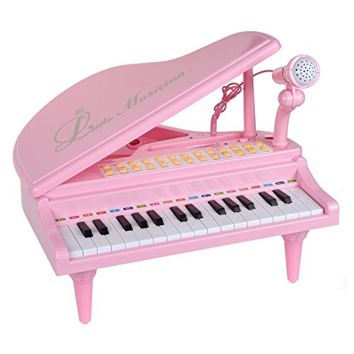 Zoostliss 31 Keys Musical Piano Toy with Microphone for Girl Toddlers Kids Singing Music Development, Audio Link with Mobile MP3 IPad PC (Pink)