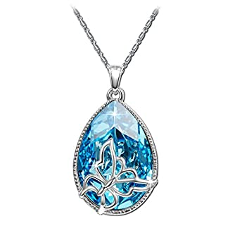 Brilla Swarovski Elements Crystal Fashion Necklace Pendants Jewelry for Women (Butterfly/Heart of The Ocean/Wishing Trees/Lucky Trefoil)