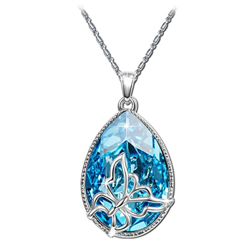 "Brilla Women's Butterfly 17"" Necklace Pendants Jewelry with Swarovski ()"