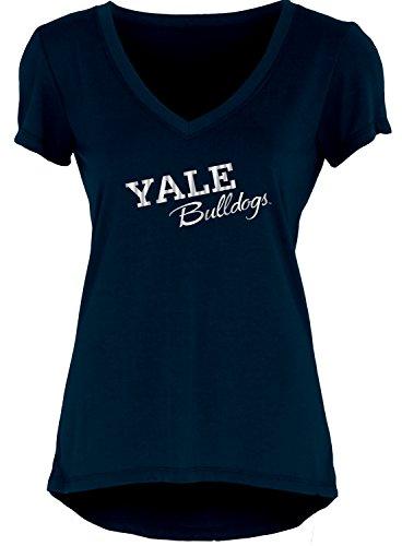 (Blue 84 NCAA Yale Bulldogs Women's Liquid Jersey V-Neck, Navy, Large)