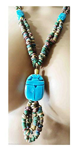 Egyptian Hand Made Multi Beaded Scarab Beetle Beads Cleopatra Nefertiti Queen 16