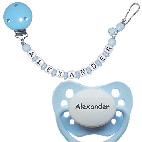 Schnullireich Personalisierte Schnullerkette mit Wunschnamen, max. 10 Zeichen (Hellblau / Junge) + 1 NIP Schnuller mit Namen (6-18 Monate)