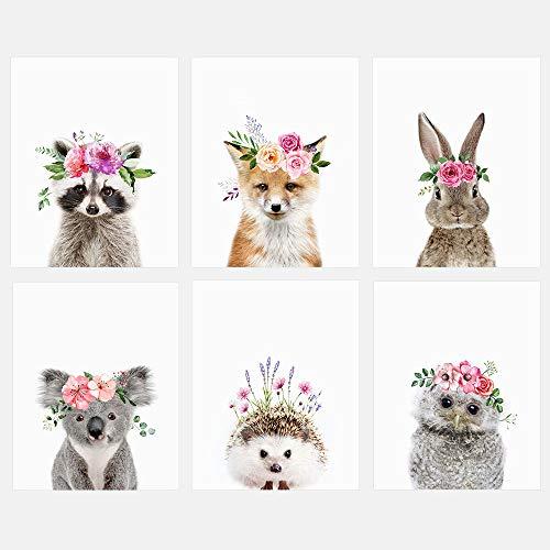 Baby Woodland Animals with Flower Crowns 8x10 Prints - Set of 6 - Adorable Furry Baby Animal Portrait - Bunny, Fox, Raccoon, Owl, Hedgehog, Koala - Nursery Decor Unframed Prints